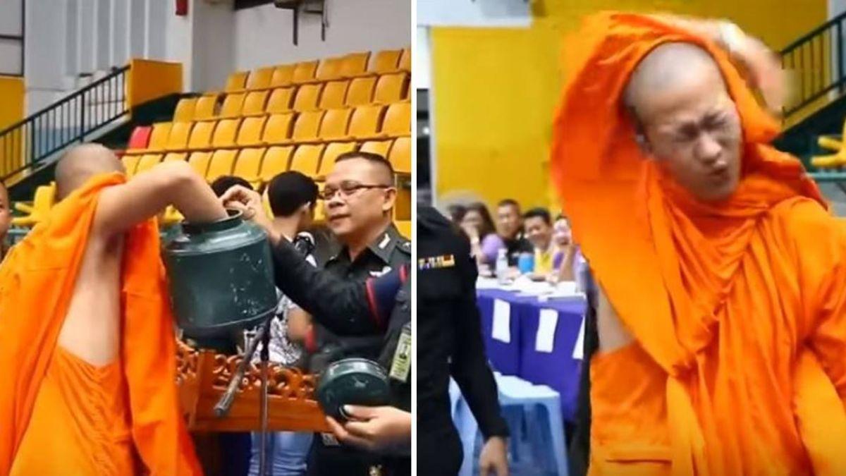【影片】笑翻!僧侶「抽中紅籤」當場腿軟癱地 旁人不忘拉手蓋章
