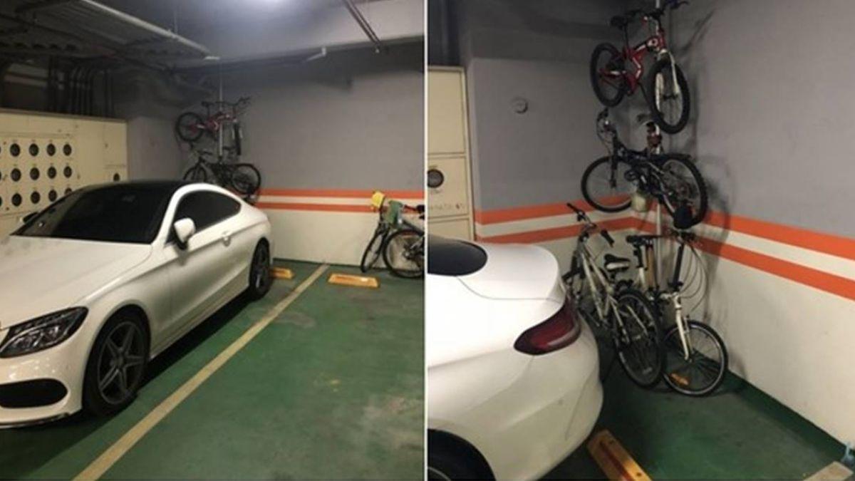 禁汽車位停單車…他提「頂天立地」反制 網砲轟:社區亂像