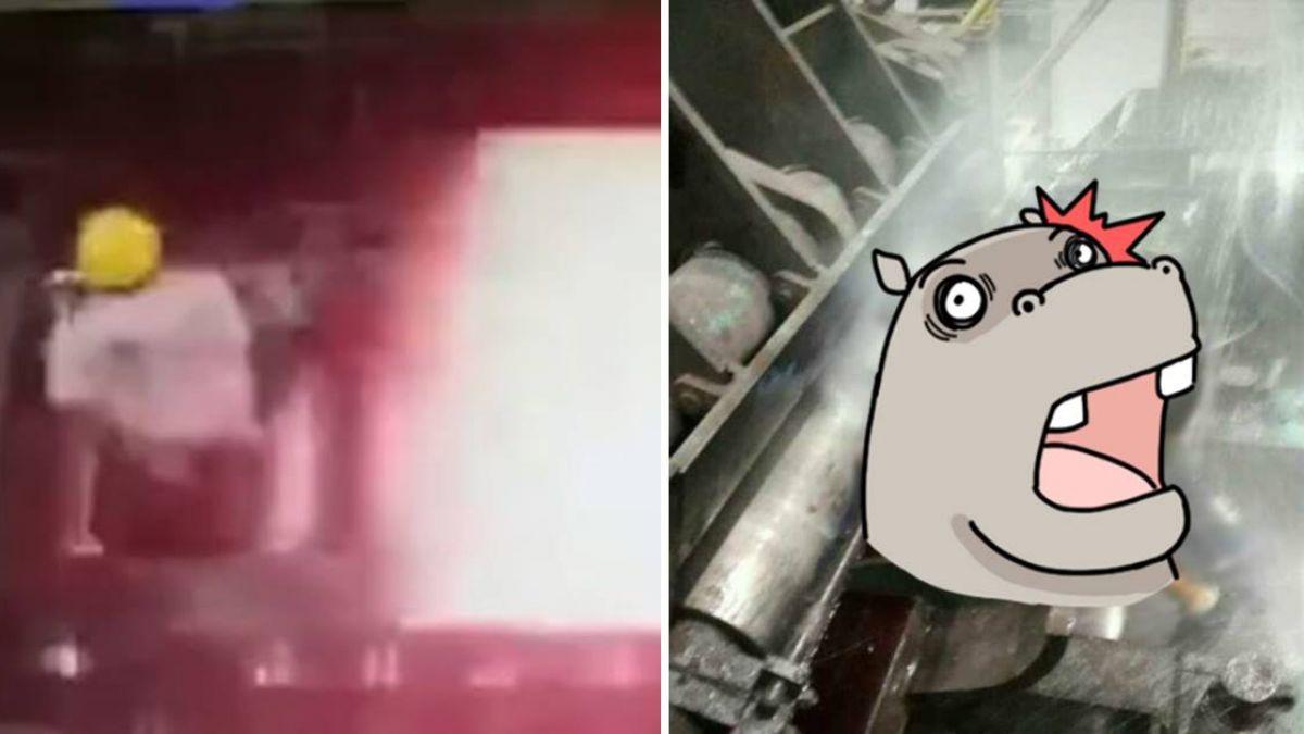 悚!工人遭「滾燙鋼鐵」滅頂 燒焦畫面曝光