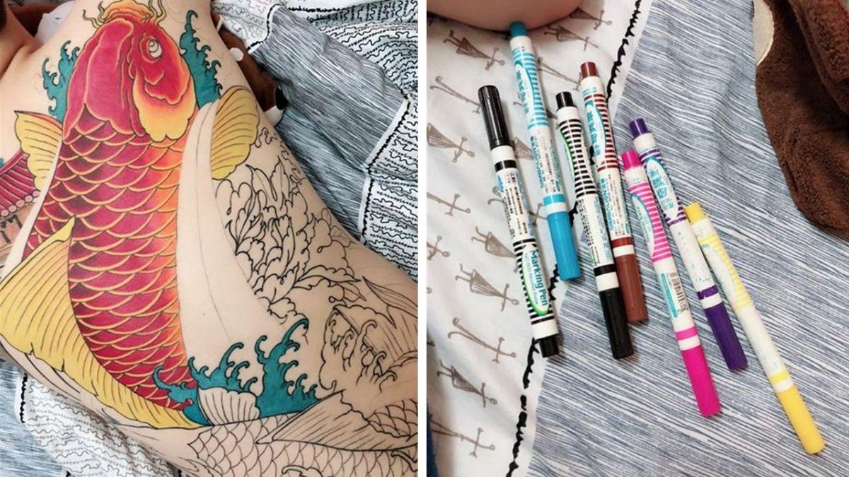 報復男友打電動…她拿「奇異筆」幫刺青上色 網跪:太有才!