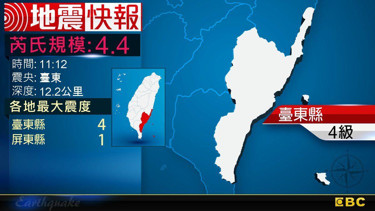 地牛翻身!11:12 臺東發生規模4.4地震