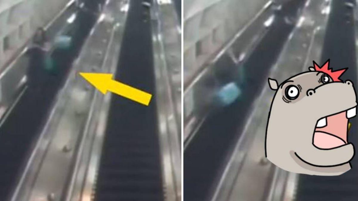 搭手扶梯慘遭「天降行李箱」鏟飛!婦人如保齡球彈起重摔