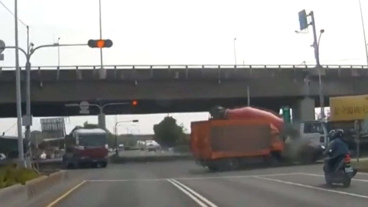 水泥車撞物流車一人傷 起因…黃燈消失?