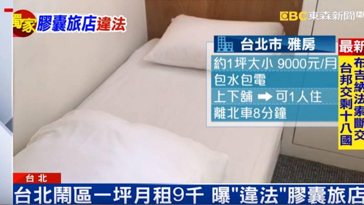 獨/一坪雅房月租9000元!台北膠囊旅店違法遭罰40萬