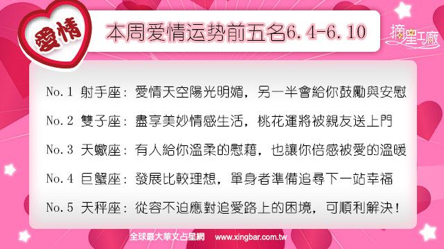 12星座本周愛情吉日吉時(6.4-6.10)
