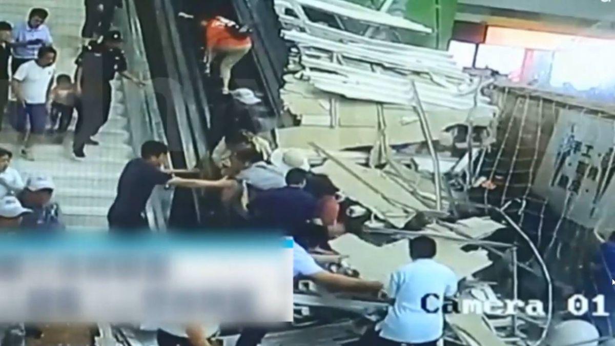 從天而降釀9傷!大陸陝西餐廳天花板崩落 民眾尖叫逃離