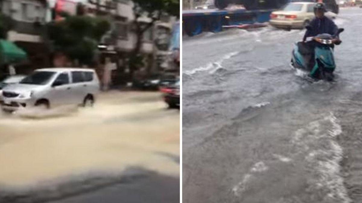「要划船了!」高屏大雨一直下 鳳仁路水淹小腿…居民傻眼