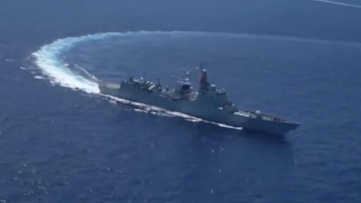 中共軍艦第六度繞台 單艦出航隱蔽潛艦?