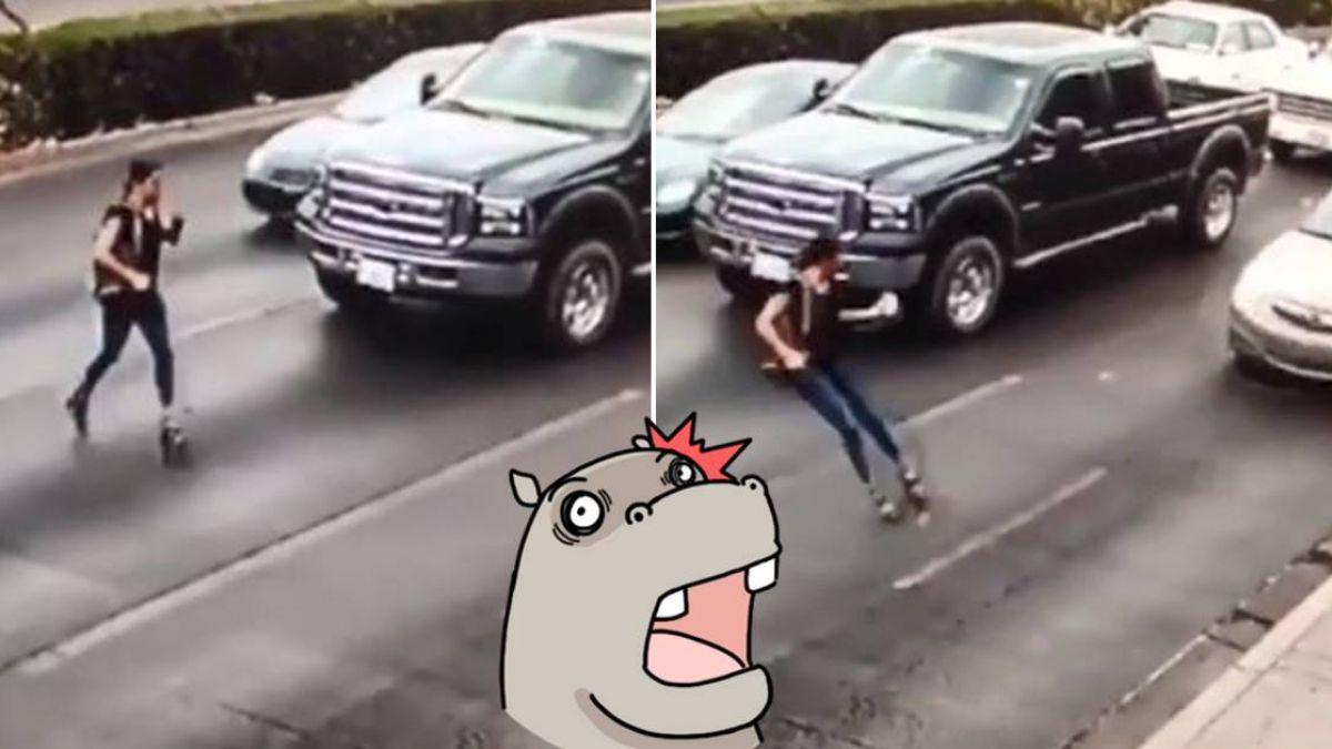 驚悚瞬間!她穿高跟鞋過馬路 腳一滑…遭撞捲入車底