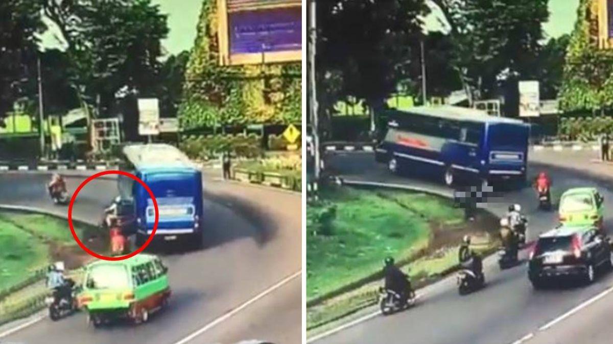 公車緊貼機車 後座醫倒地再遭輾!驚悚畫面曝光