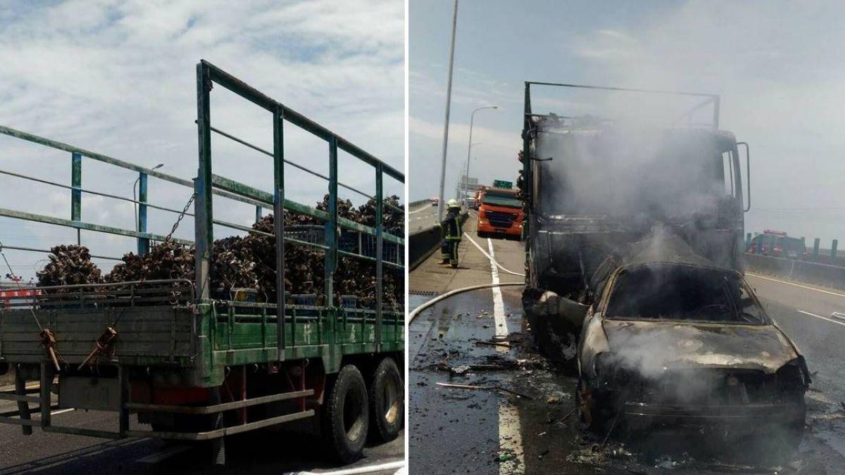 台61線轎車貨車碰撞起火!轎車2傷1人成焦屍