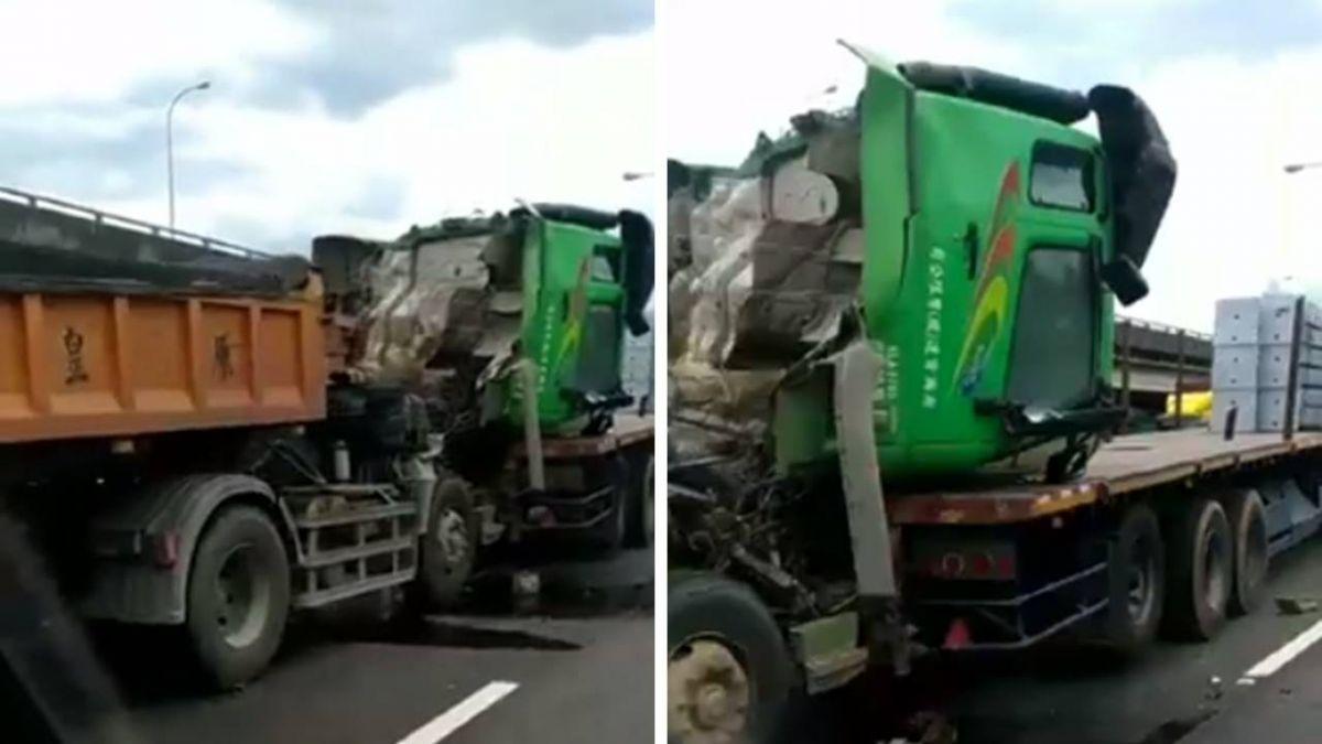 國道拖板車追撞!車頭截斷 90度往前傾倒