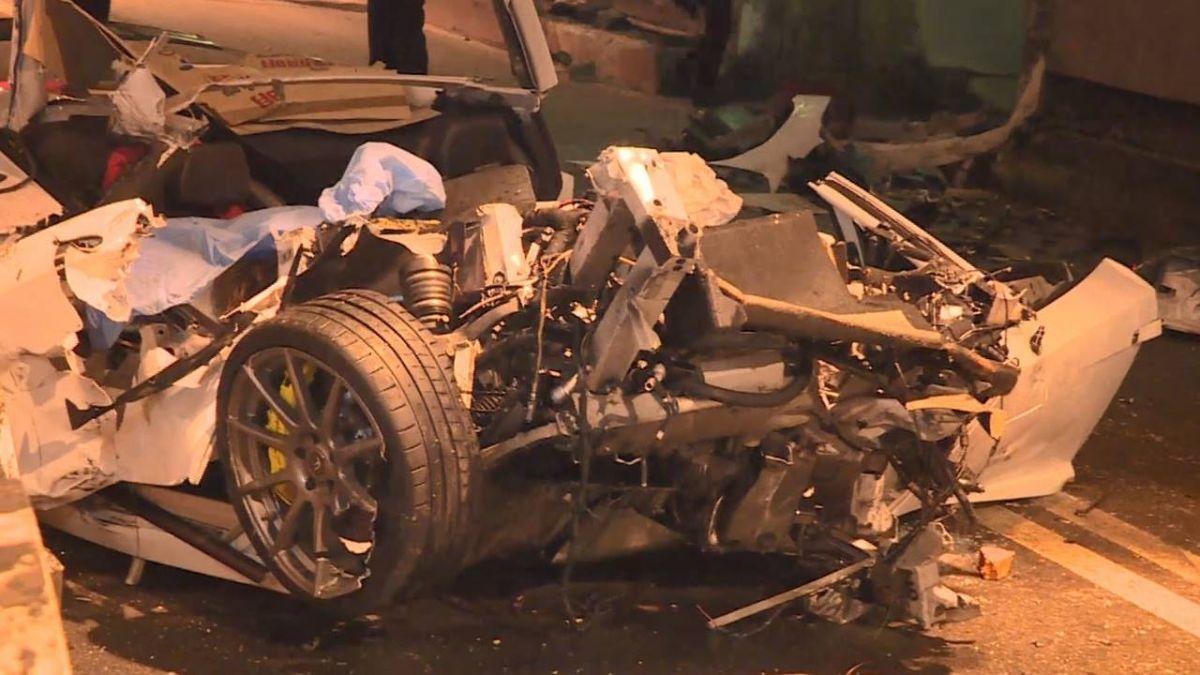 扯!超跑飆速開直播預告「寶貝出發吧」 撞工程車釀2死3傷