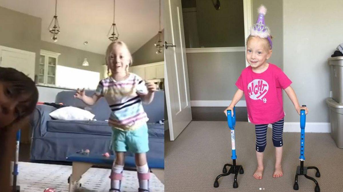 奇蹟!4歲腦癱女童擺脫助行器站起來:我可以走路了