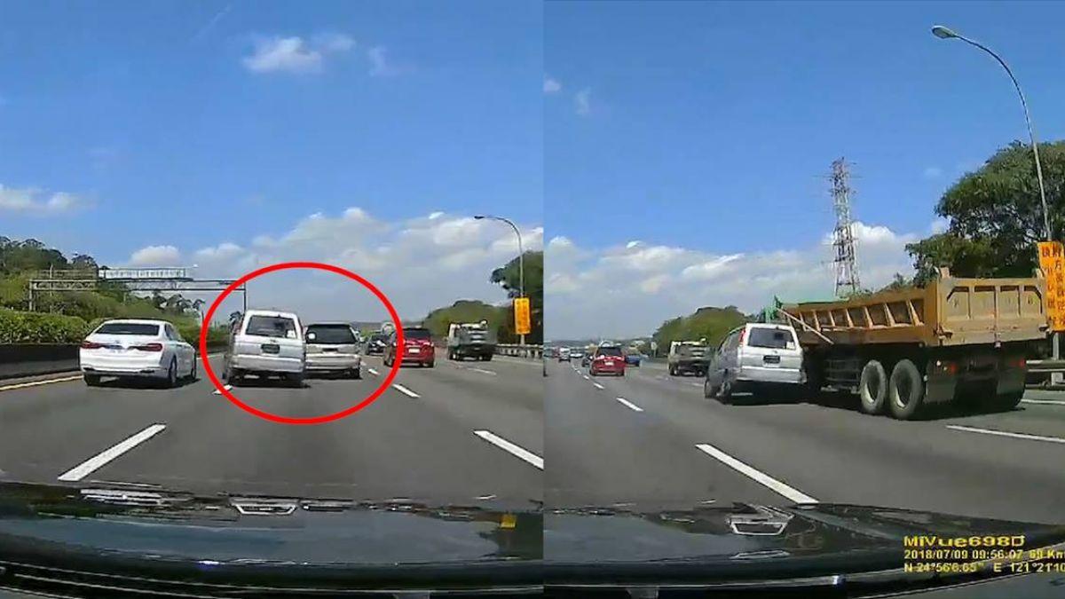 驚悚10秒直擊!三寶恐怖鬼切 害廂型車3連撞後竟烙跑