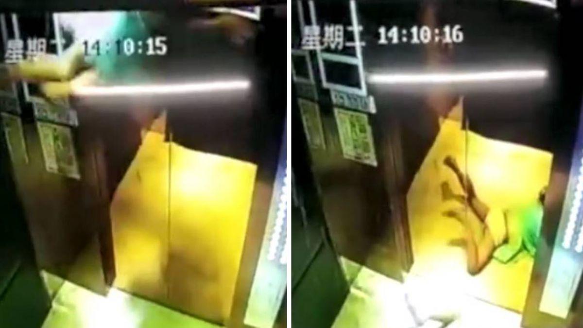 兄妹腰綁繩搭電梯…7歲女童被飛甩吊起 1秒重摔落地!