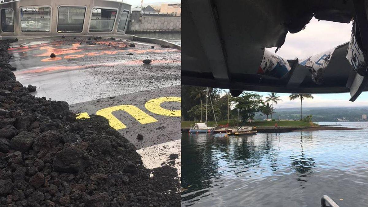 夏威夷「熔岩炸彈」噴發 擊穿觀光船23傷