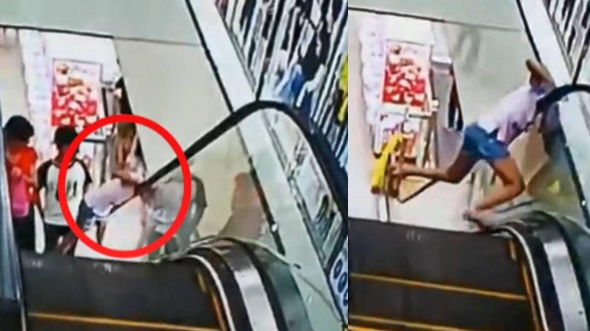 搭手扶梯往外探頭 女童頭卡商場牆縫隙