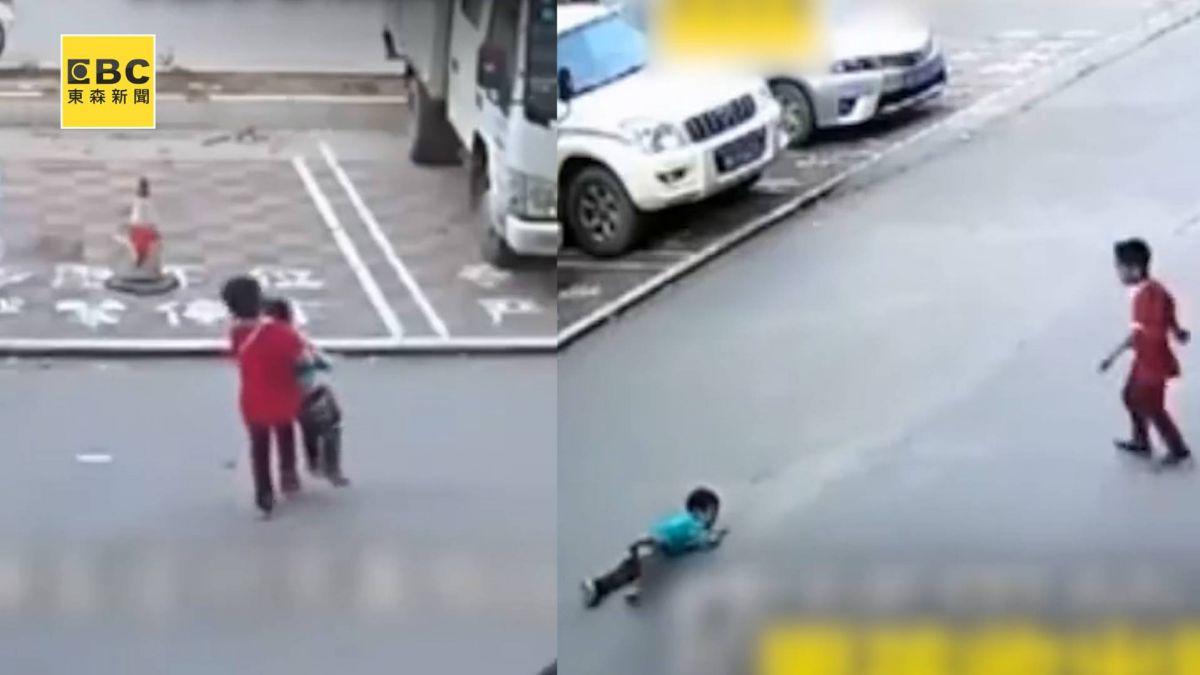 唏噓!娃被撞大人旁觀 7歲童出手救