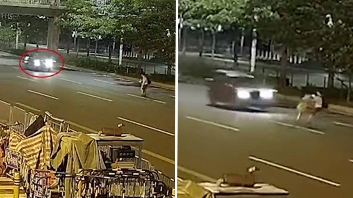訂婚情侶穿越馬路 離奇「牽手往後跳」下秒撞飛…女重摔亡