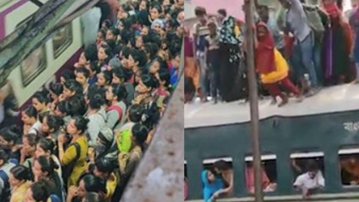 印度婦女通勤 爭先恐後宛如電影場景