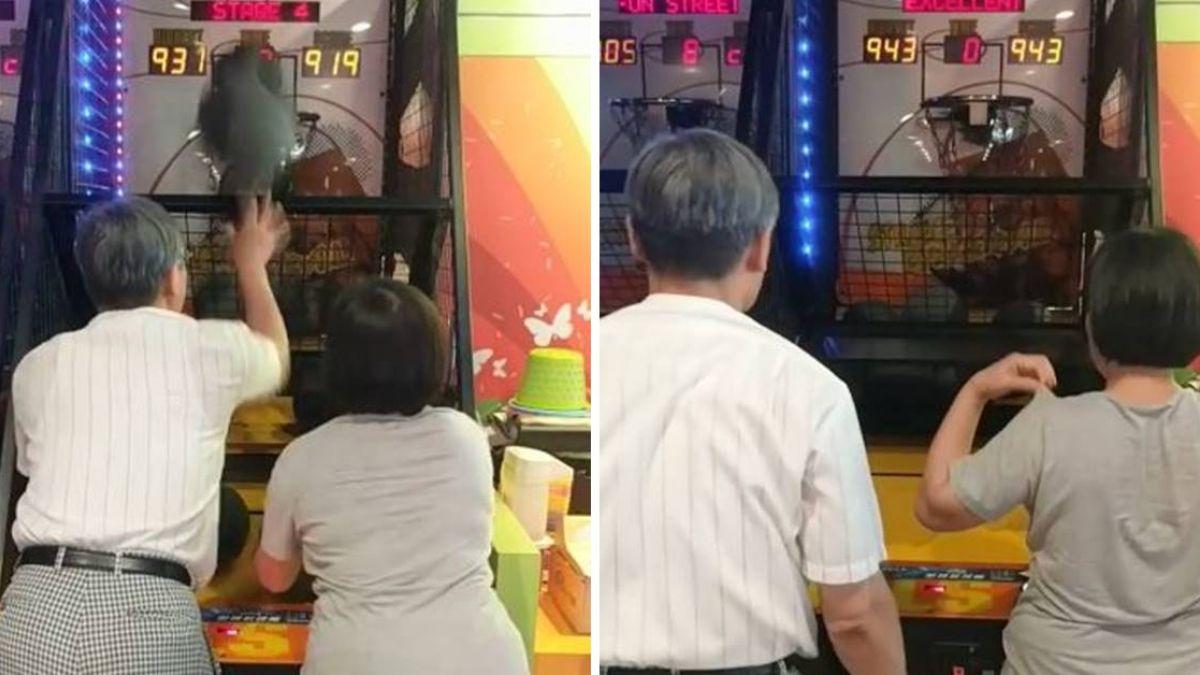 白髮伉儷「10秒投11球」破紀錄!網驚:籃球機界神鵰俠侶