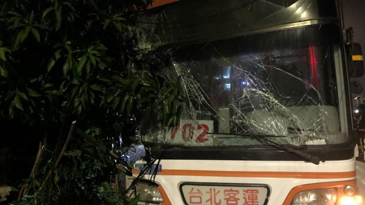 新北公車深夜撞路樹 3人受傷送醫
