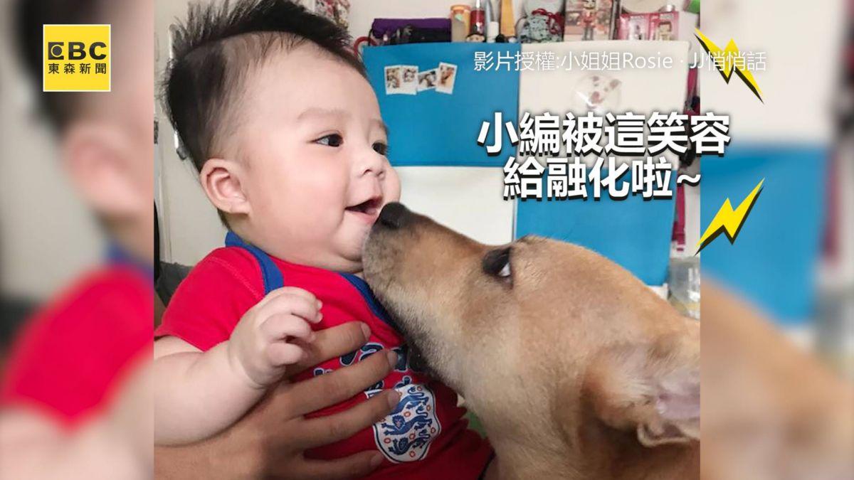 「不要欺負底迪啦!」爸幫寶寶拍嗝 暖汪竟伸手阻止