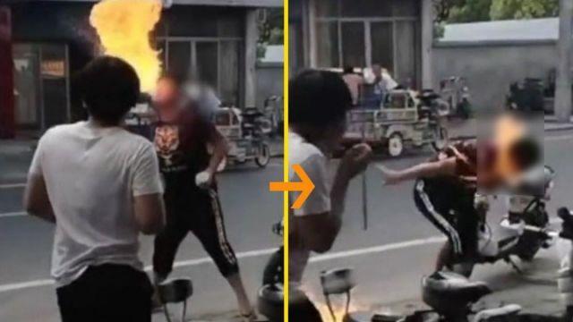16歲少年學道士噴火 跟著風走「真火了」