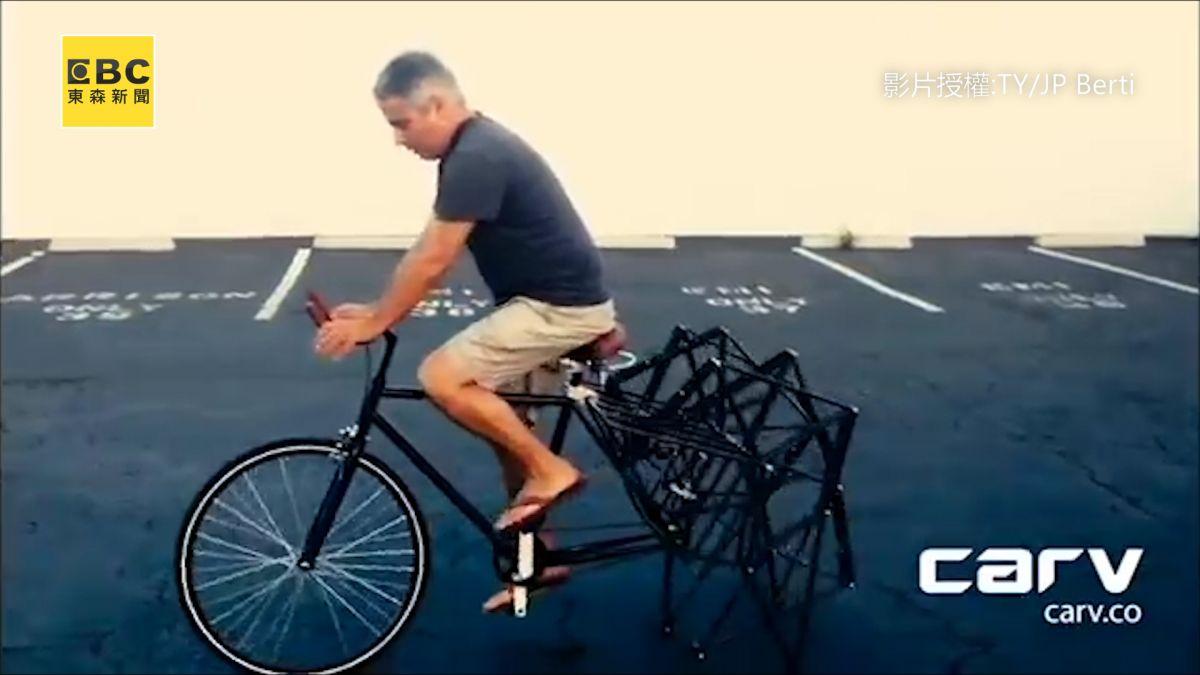 回頭率100%  工程師自製「蜘蛛腳自行車」