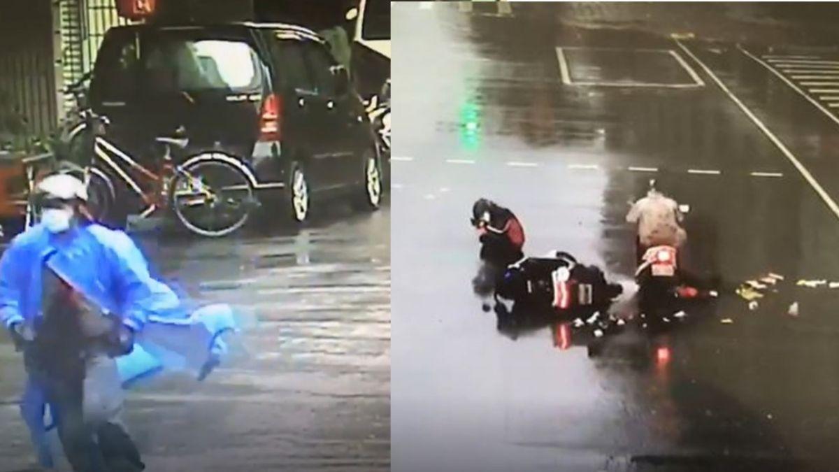 闖紅燈騎車撞人!口罩男「用跑的」肇逃 女大生狂追250公尺