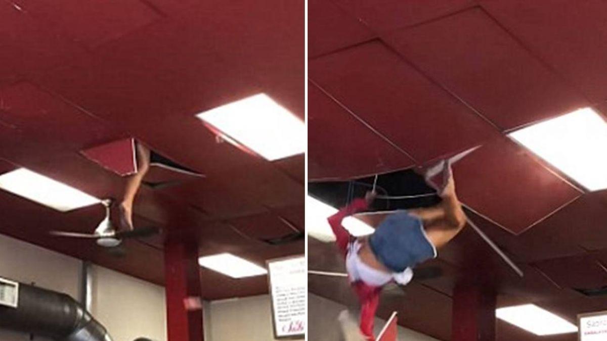 天花板傳怪聲…下秒「光腳女」從天降!速食店顧客嚇尖叫