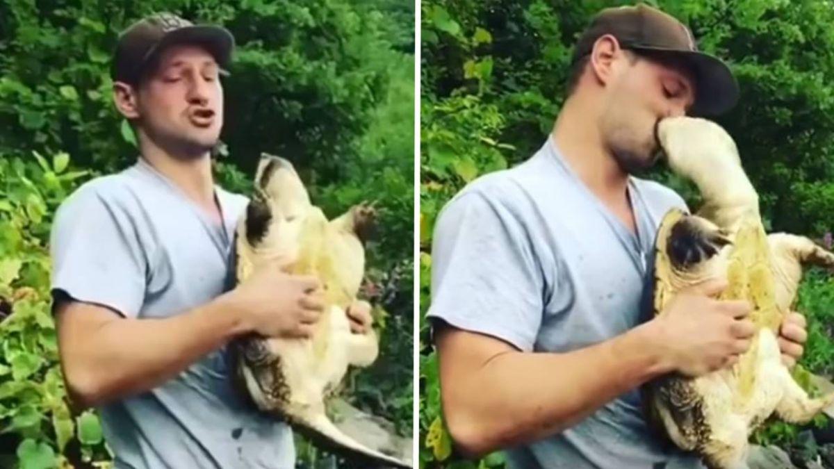 熊抱擬鱷龜 樂喊「誰是乖孩子?」 壯碩男遭強吻…仰天尖叫