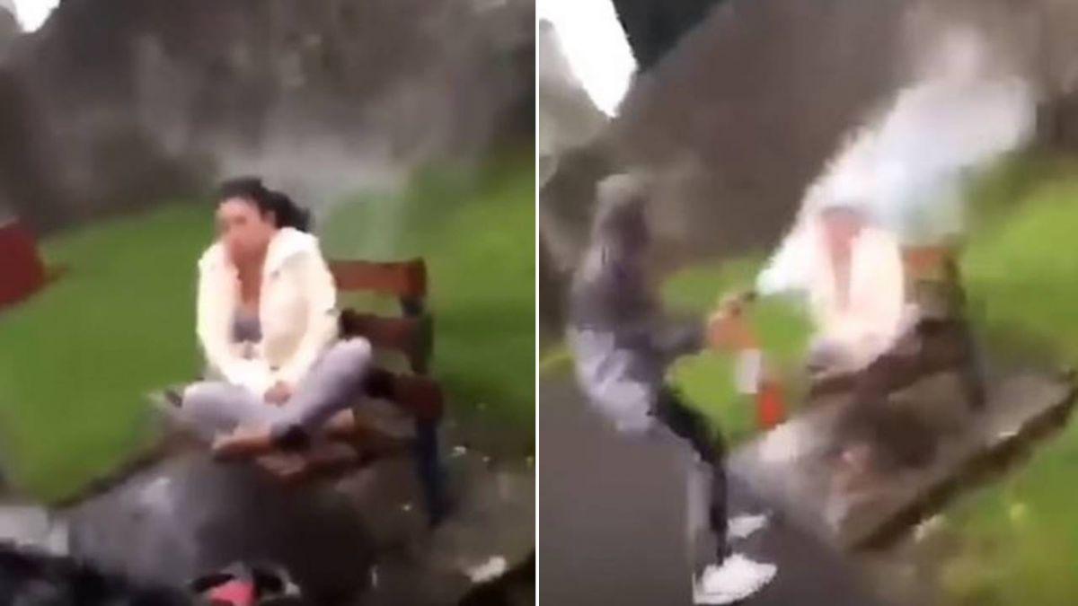 帽T屁孩狂笑「滅火器噴射」流浪婦 網怒斥:沒人性