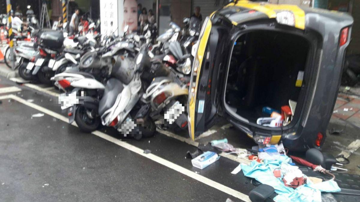 計程車疑暴衝撞翻  3人受傷送醫