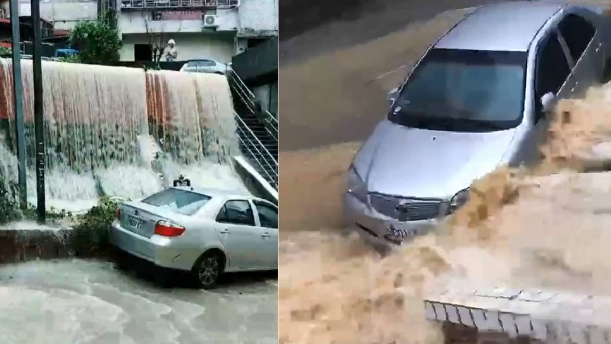 驚悚「黃色瀑布」 基隆新西街一度成「疏洪道」