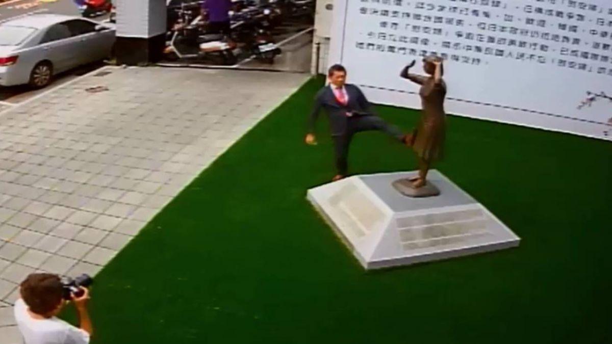 台人怒了!日男踹台南慰安婦銅像 監視器畫面曝光