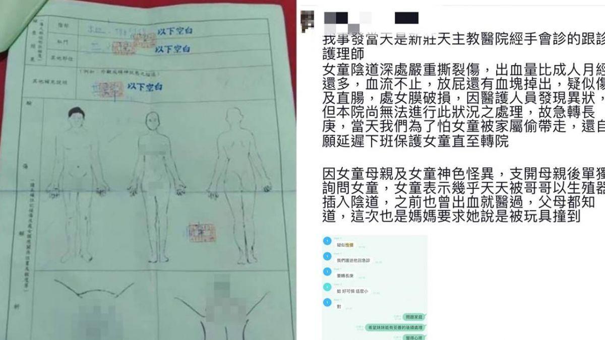 5歲女童下體大出血 護理師爆「天天遭兄性侵」…父怒提告