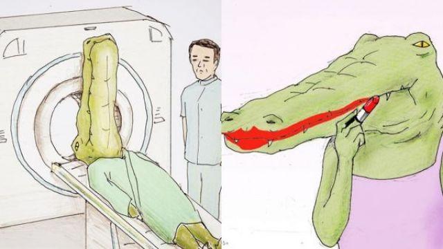 人生好難!他畫出鱷魚、長頸鹿真實困擾 網友全笑歪