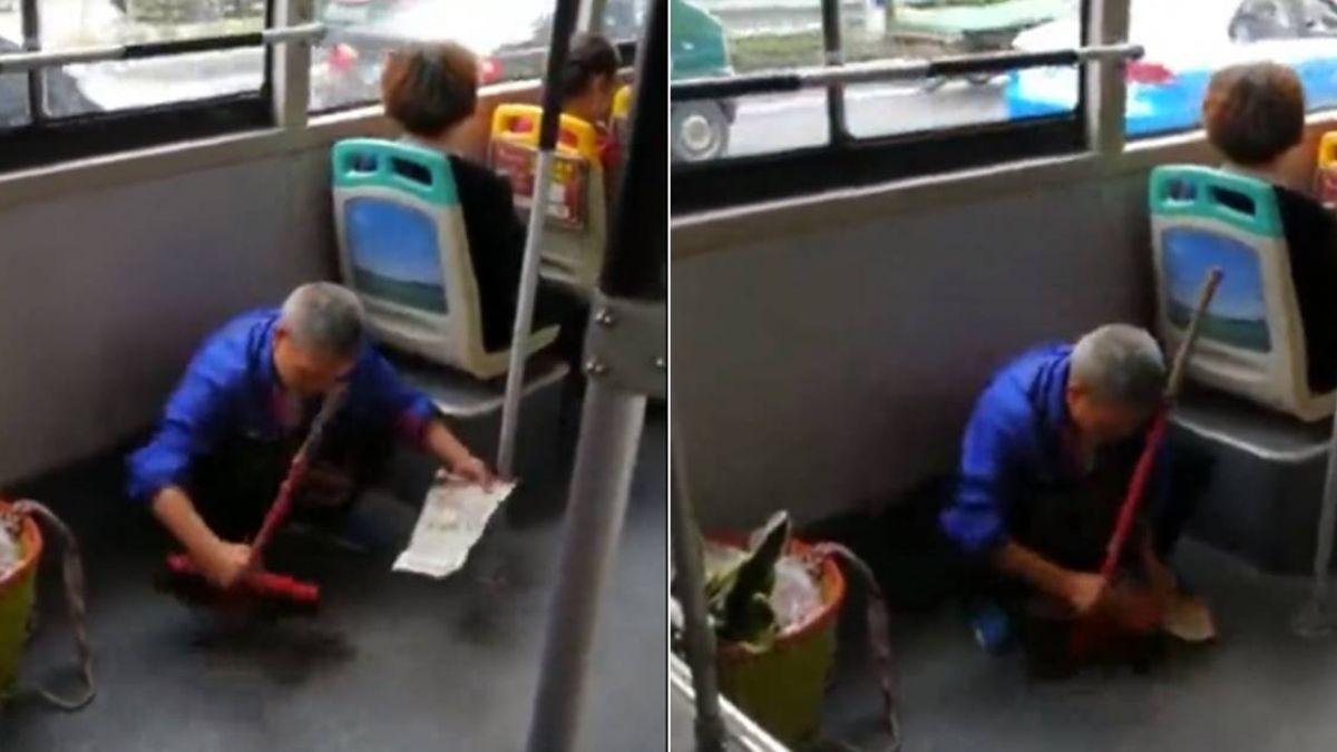 搭公車灑翻泥土 翁蹲地彎腰掃「一粒不剩」 網讚:這就是素質
