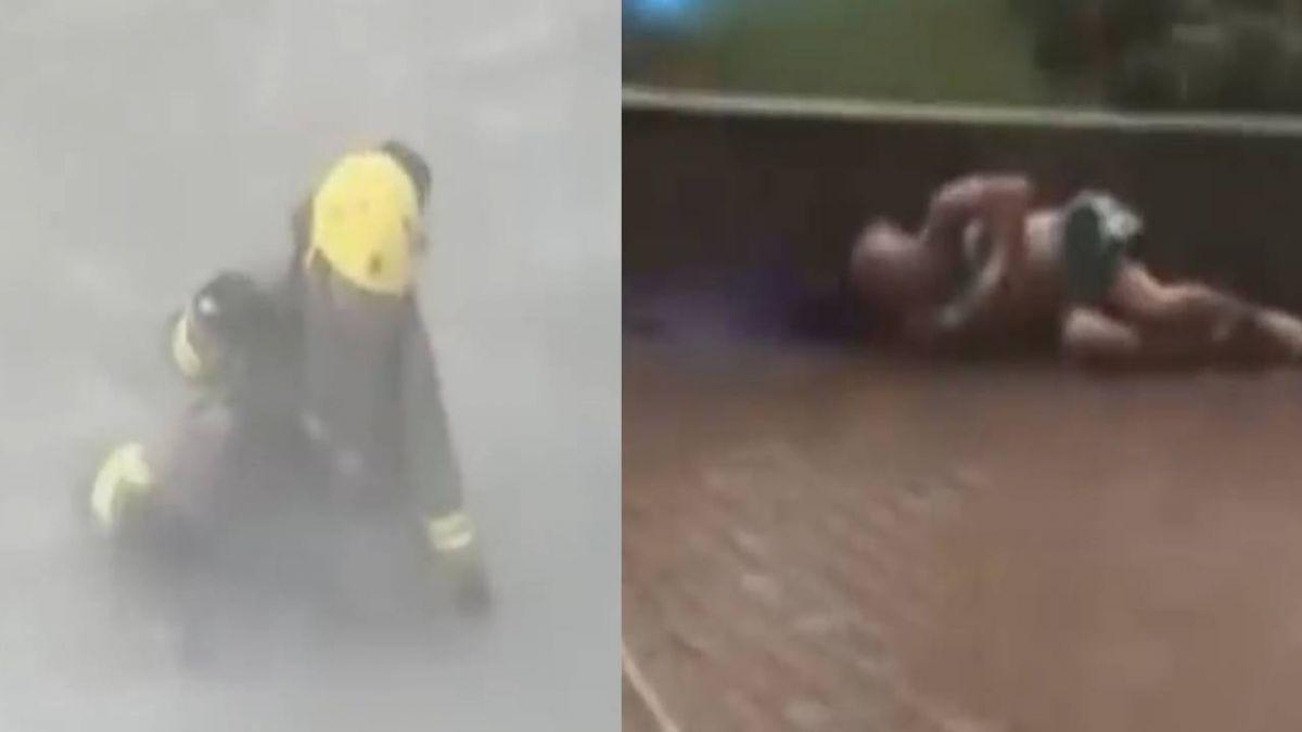 香港市區滿目瘡痍!上環區巨大風切 民眾吹跌撞牆