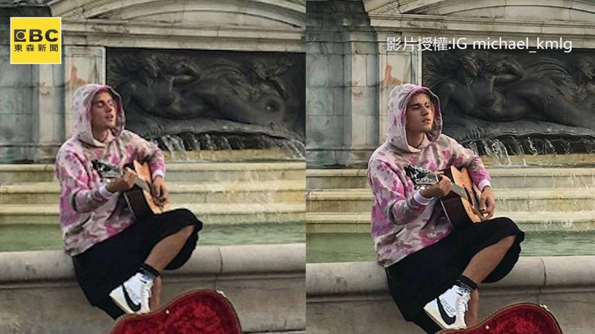 甜翻!街頭示愛「辣模妻」  樂壇天王自彈自唱 閃瞎眾人