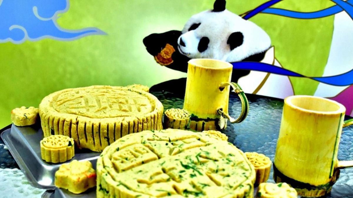 金剛猩猩吃柚子 大貓熊家族大啖月餅慶中秋