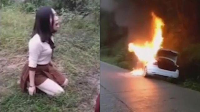 女駕駛火燒車急逃生!忘開車鎖 崩潰丈夫、兒女活活燒死