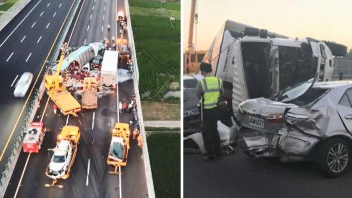 國道10車追撞…1死8傷!孕妻「快救我老公」喚不回軍人夫