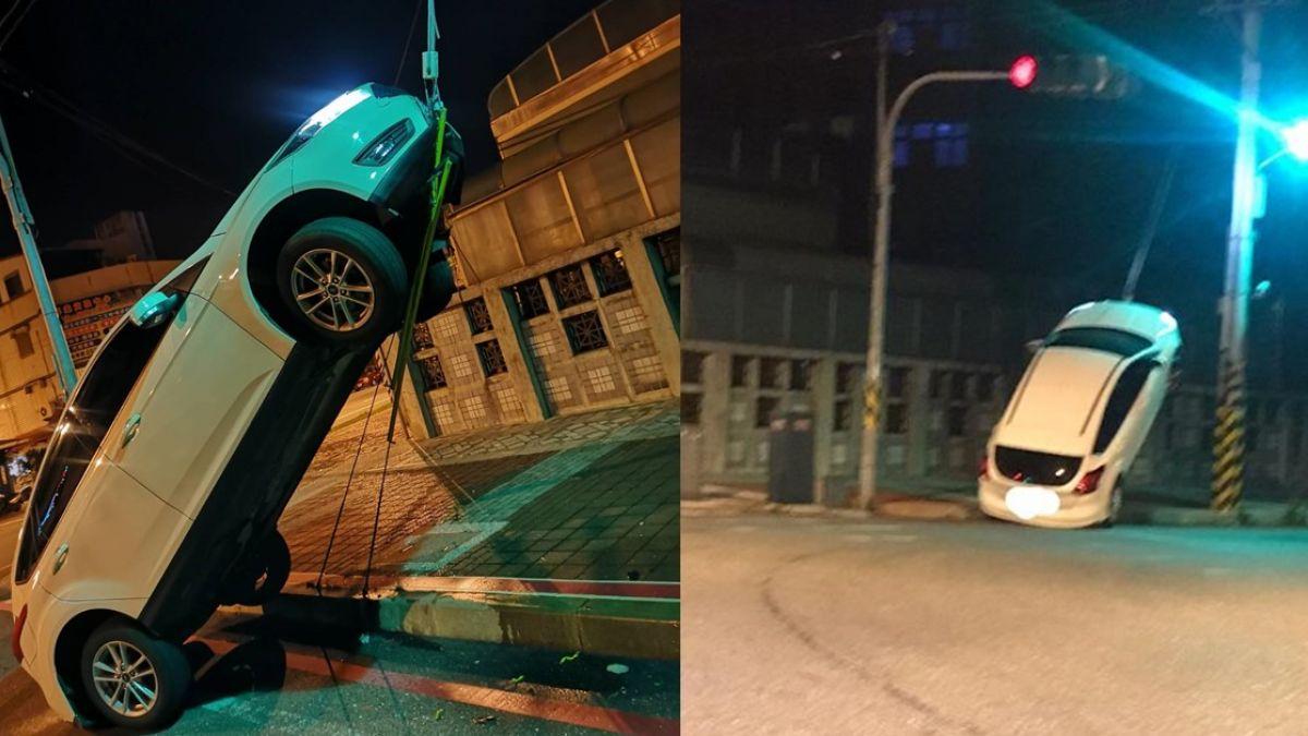 超神!轎車直接開上電桿鋼索 網笑:這樣停車才省空間