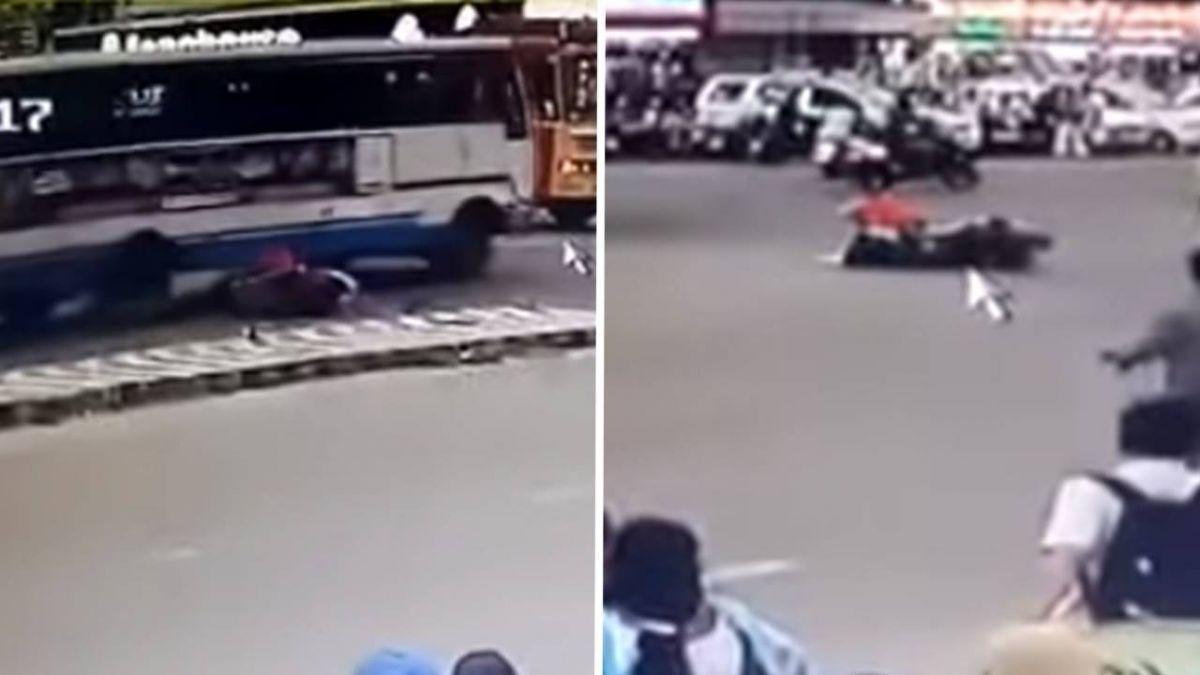 三寶女騎士擦撞慘摔…爬起繼續騎!40秒後竟又撞公車