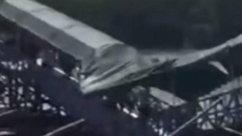 【影片】十一長假人擠人! 佛山橋踩塌成V字型