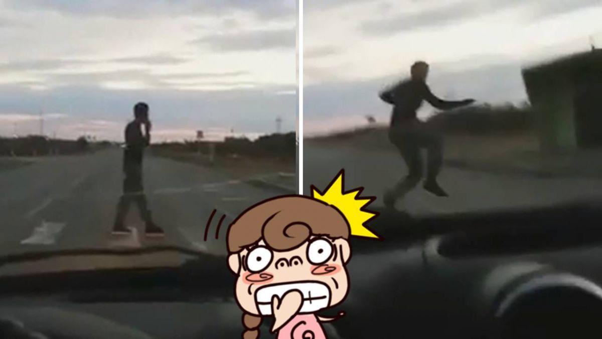 【影】三寶低頭過馬路遭「機關槍掃射」…心臟嚇停1秒!真相好療癒