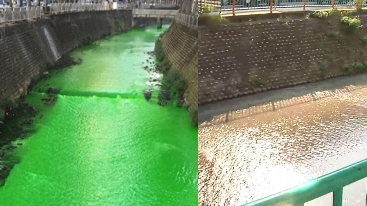 涵洞流出「綠鼻涕」染劑?梅川驚變「綠川」綿延公里